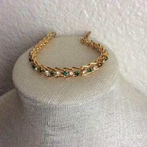 Vintage Avon Bracelet Gold Tone Green Rhinestones